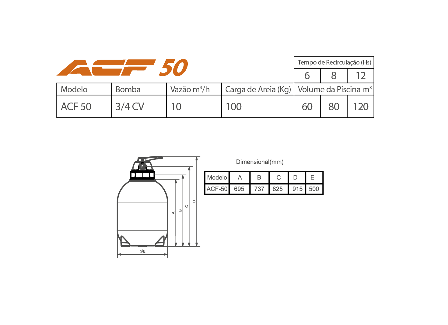 Filtro Para Spas ACF - 50 Sem Bomba