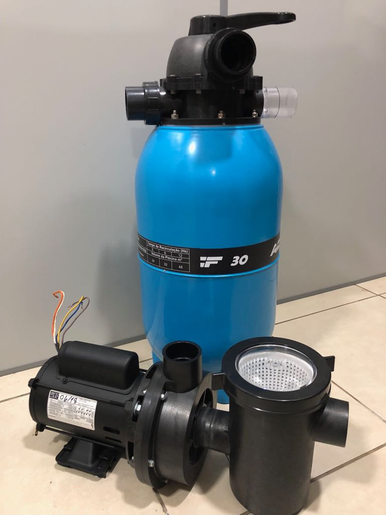 Kit Filtro Acf - 40 Piscinas E Spas + Motobomba 1/2 Cv