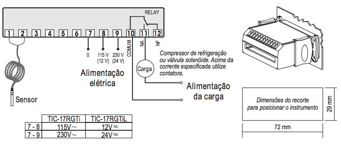 Termostato Tic 17 rgtiL Full Gauge Bivolt 12 ~ 24 V