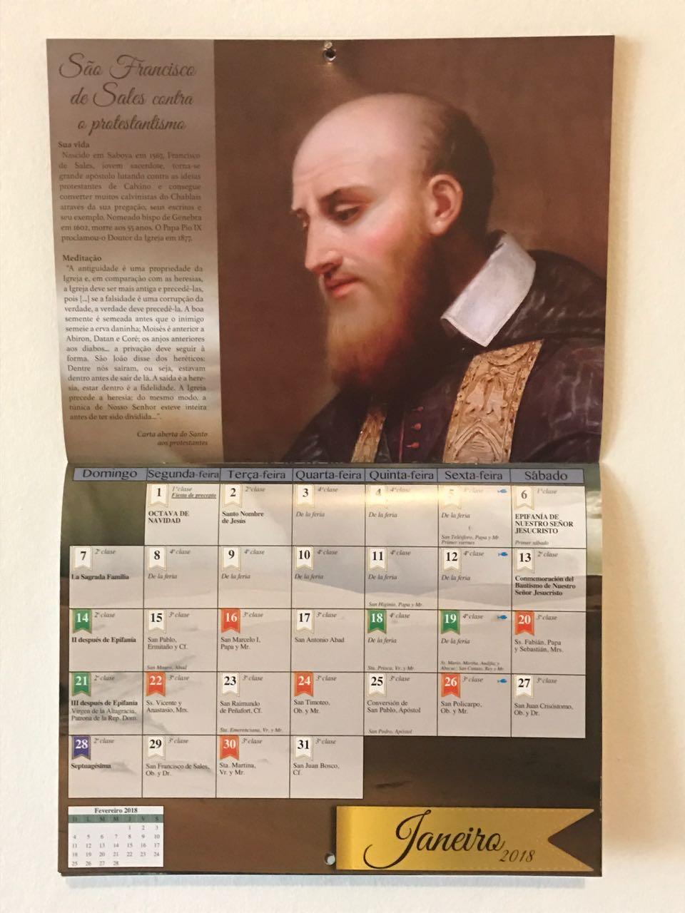 Calendário litúrgico 2018