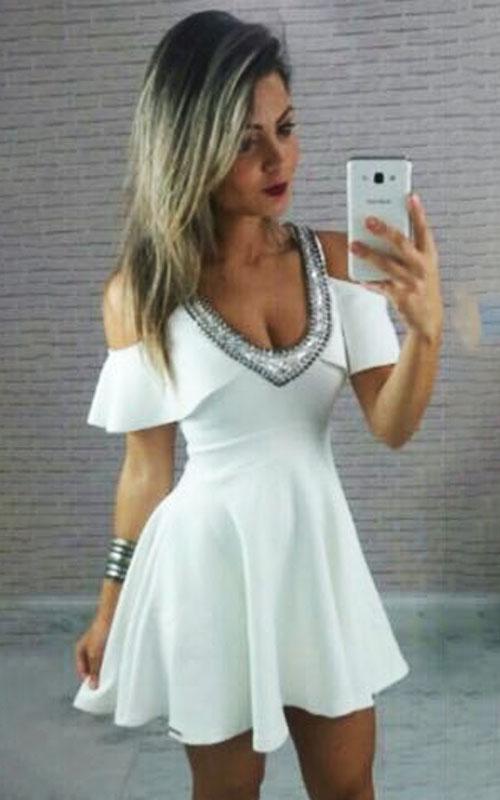 Vestido Limone Rodado Decote Bordado Manga Ciganinha - Branco - Thais Quintino  - ByBalakas - Limone