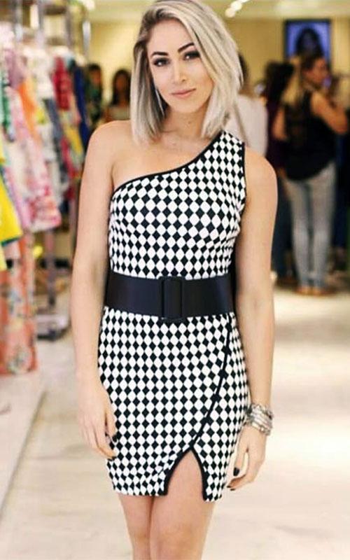 Vestido Limone Estampado Jacquard Tubinho com Cinto - Xadrez - Carol Narizinho  - ByBalakas - Limone