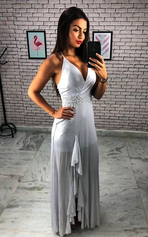 Vestido Limone Longo Foil - Prata com detalhe Guipir - Barbara Tunes  - ByBalakas - Limone