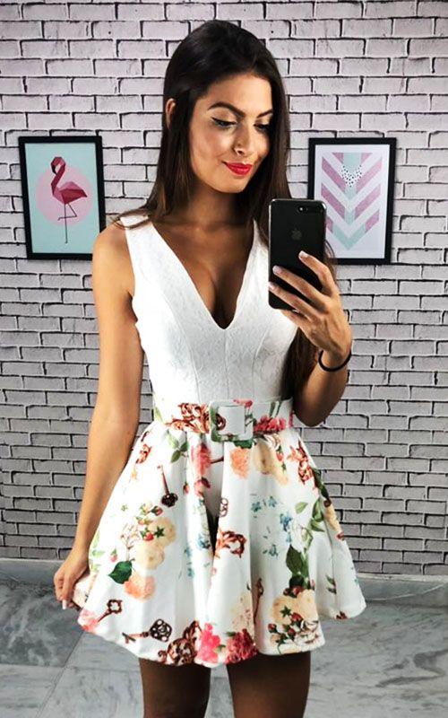 Vestido Limone Rodado Neo Estampado com Renda - Branco - Barbara Tunes  - ByBalakas - Limone