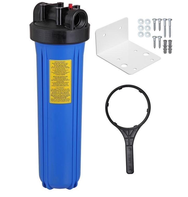 """Filtro de líquidos, com carcaça plástica, tamanho 20""""x4.1/2"""", conexão plástica de 1"""" e chave abertura + Elemento Filtrante Carbon Block de 5 micras"""