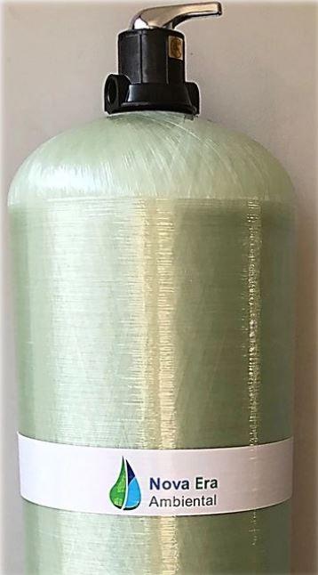 Filtro para remoção de Ferro e Manganês + Turbidez 1.300 a 2.200 litros/hora: kit com 125kg de zeólitas + vaso com válvula manual + tubo central e crepinas