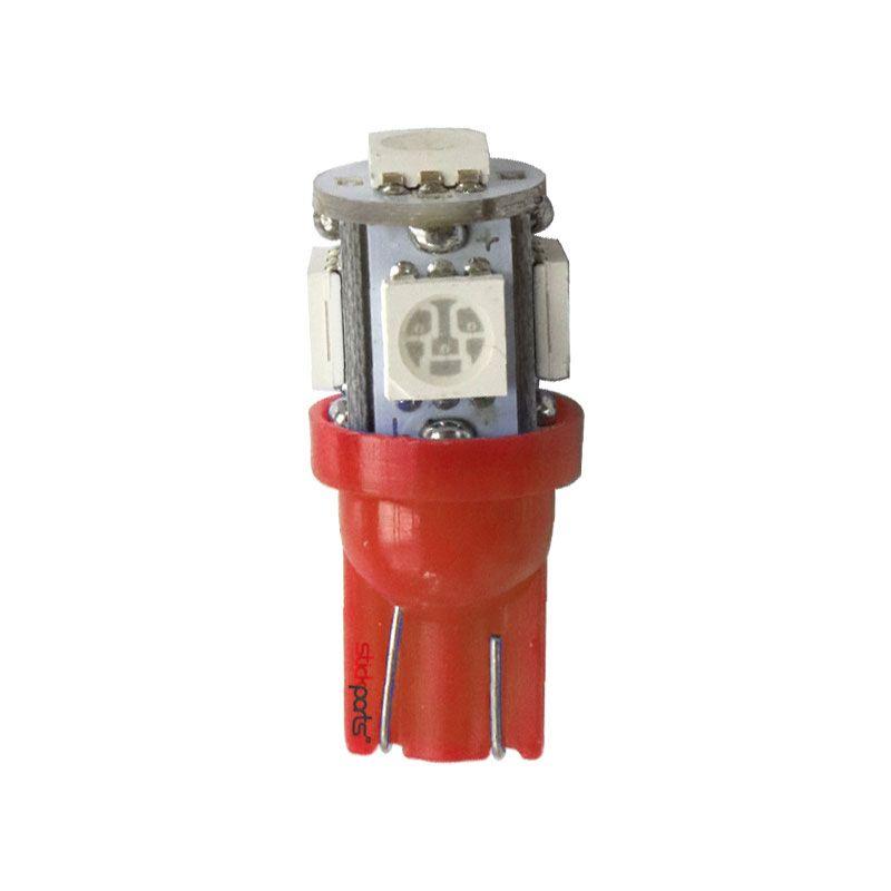 Lâmpada Pingo T10 W5w 5 Leds Smd 5050 Vermelho