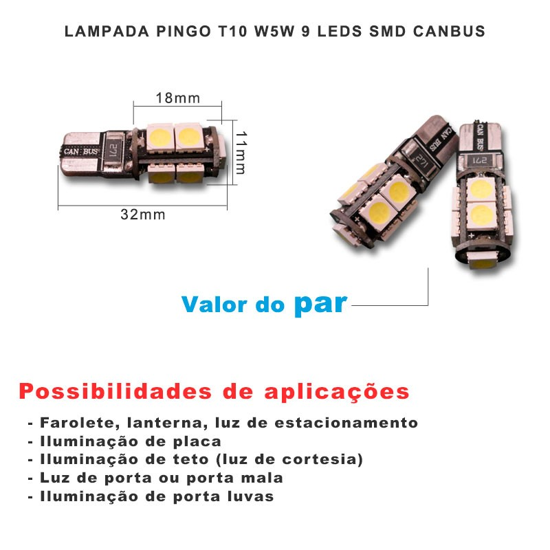 Lâmpada Pingo T10 W5w 9 Leds Smd 5050 Branco Canbus