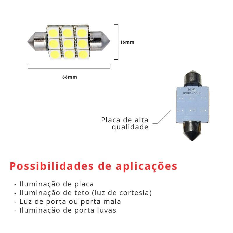 Lâmpada Torpedo 36mm 9 Leds Smd 5050 Branco