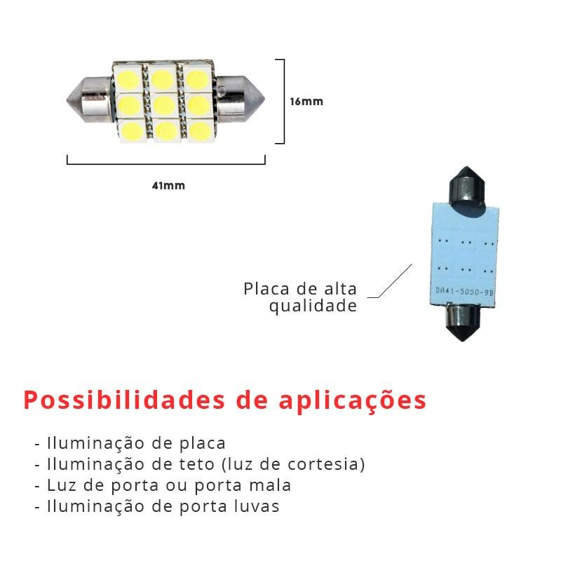 Lâmpada Torpedo 41mm 9 Leds Smd 5050