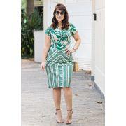 2594 - Vestido Plus Size em linho com mix de estampas floral e listras