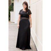 2606 - Vestido Plus Size longo em crepe cetim com detalhes em renda
