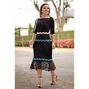 2655 - Vestido em renda com detalhes em sianinha colorida (PRODUTO NA PROMOÇÃO NÃO TEM DESCONTO PAGAMENTO A VISTA)
