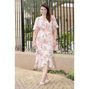 2733 - Vestido Plus Size em crepe elastic com estampa exclusiva da Kauly e detalhes em tule