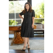 3047 - VESTIDO PLUS SIZE LADY LIKE EM VISCOSE COM MIX DE ESTAMPAS E BOLSO