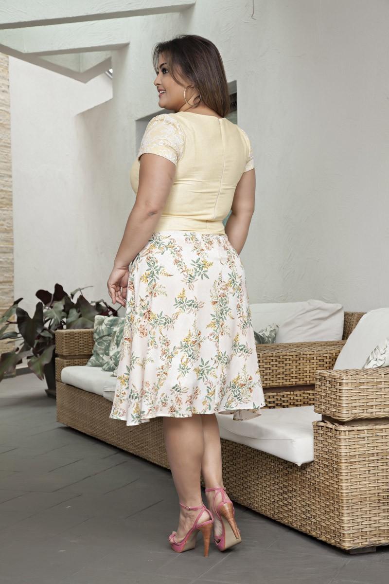 2056- Vest: plus size em linho c/ saia lady like c/ forro e cinto
