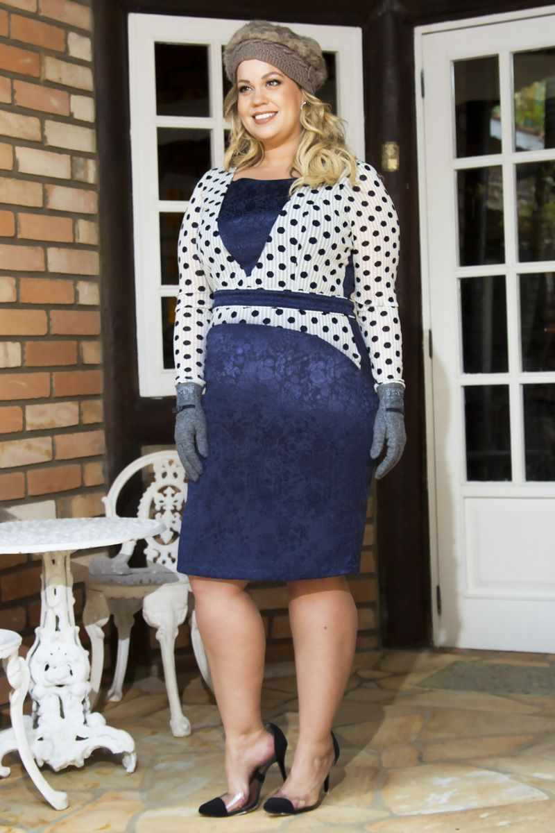 2191- Vest: plus size em jacquard c/ forro tule poa