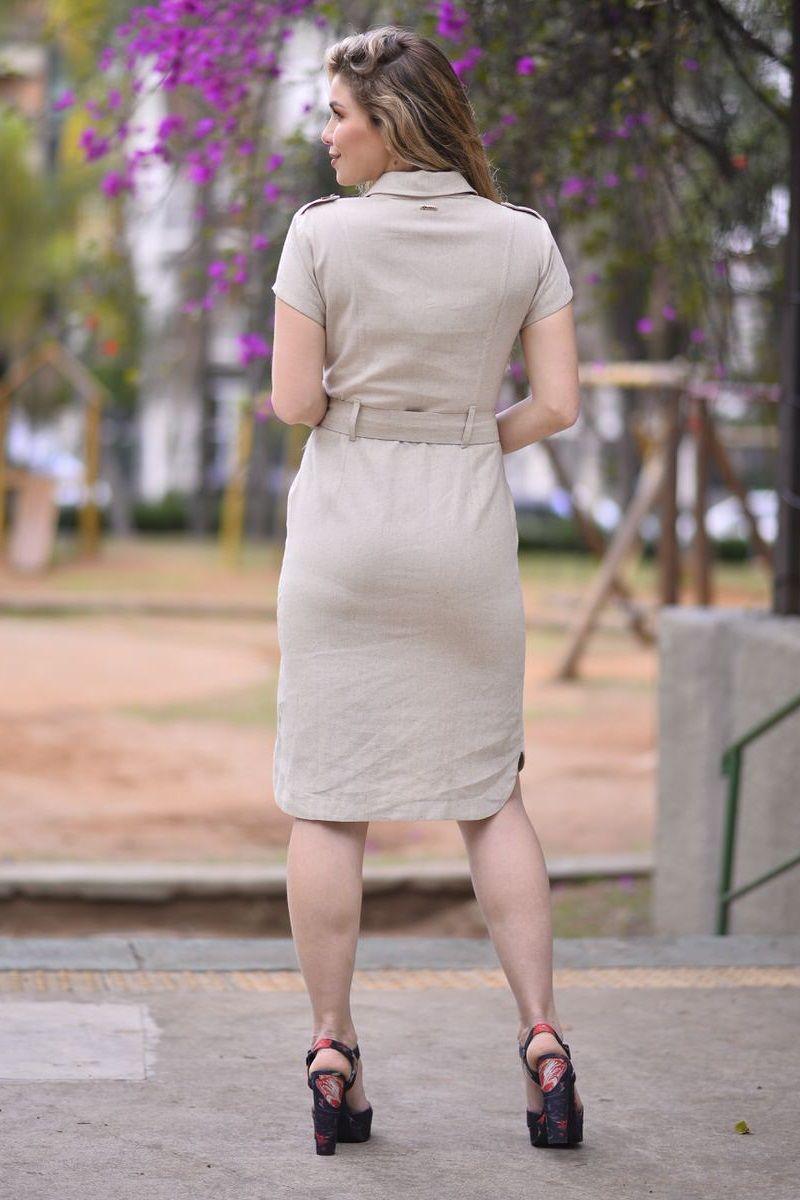 2312-Vestido em linho com cinto cor unica