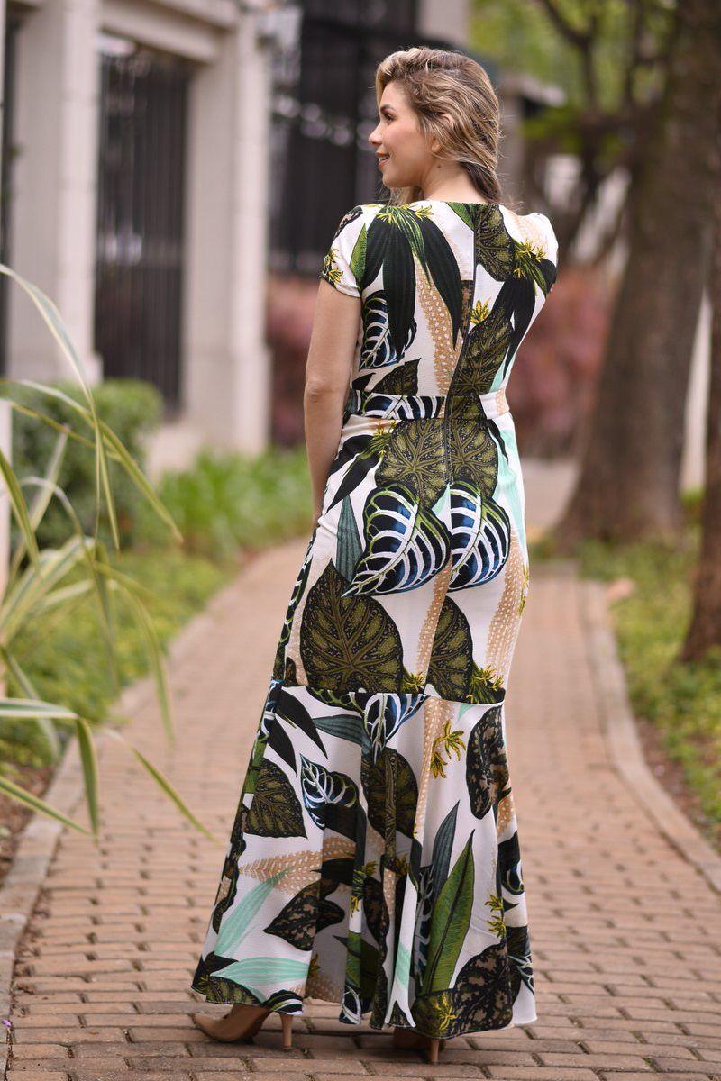 2339- Vestido longo sereia em crepe estampado  ( PRODUTO NA PROMOÇÃO NÃO TEM DESCONTO NA COMPRA A VISTA)
