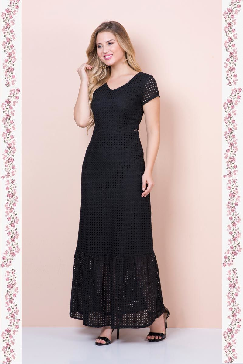 2366- Vestido longo em lisie c/ forro