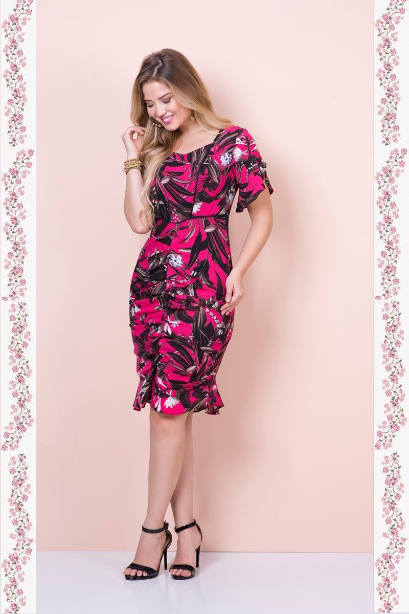 2383- Vestido em crepe floral forrado com drapiado frontal ( PRODUTO NA PROMOÇÃO NÃO TEM DESCONTO NA COMPRA A VISTA)