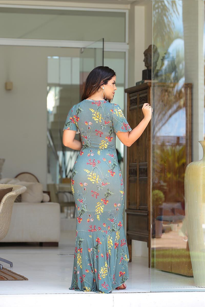 2475- Vestido longo em malha c/ forro c/ det. babados ( PRODUTO NA PROMOÇÃO NÃO TEM DESCONTO PAGAMENTO A VISTA)