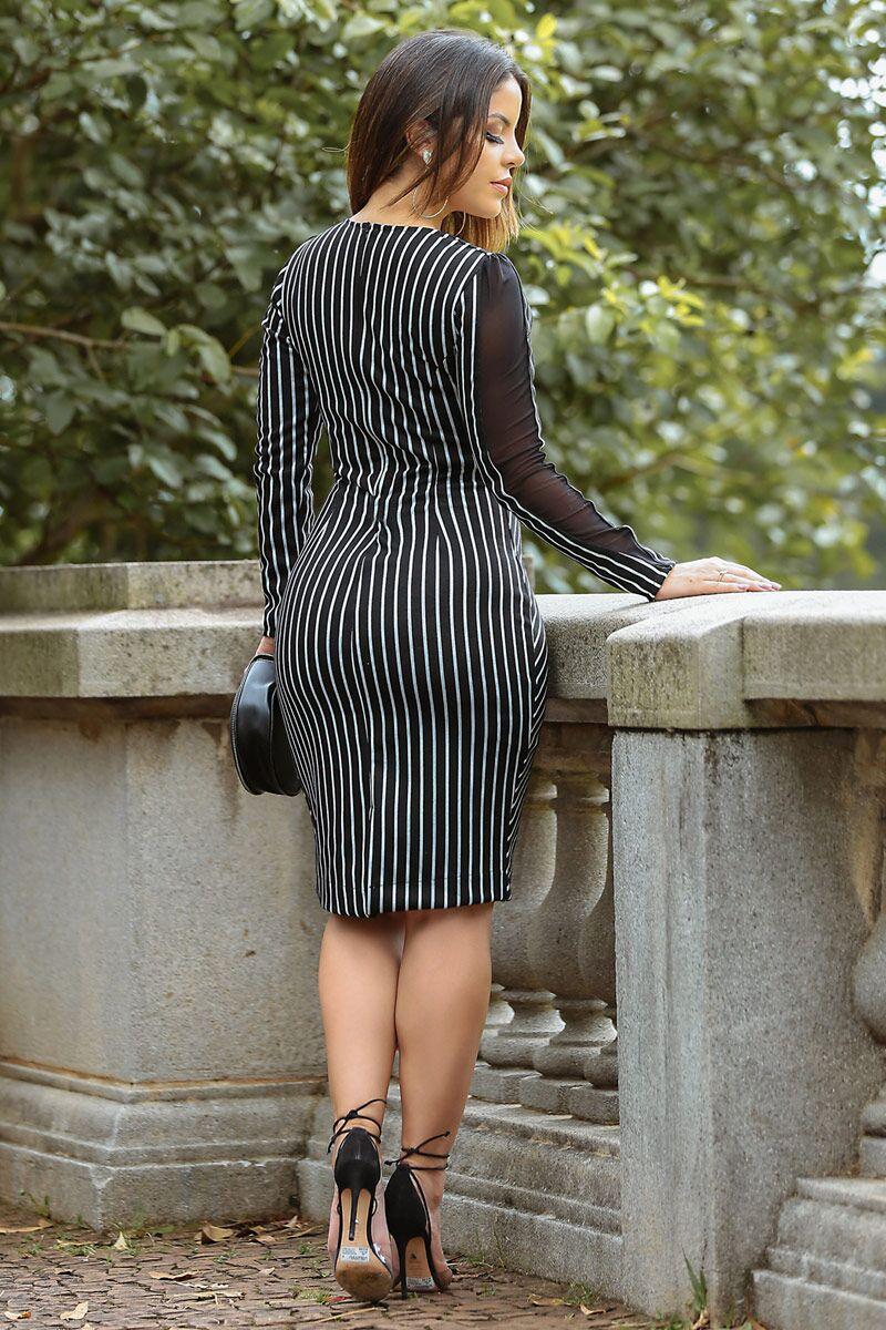 2486-Vestido em malha jacquard listrada det. tule manga  ( PRODUTO NA PROMOÇÃO NÃO TEM DESCONTO PAGAMENTO A VISTA)