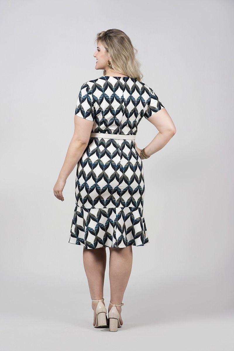 2490-Vestido plus size em alfaitaria estampado c/ elastano c/ cinto