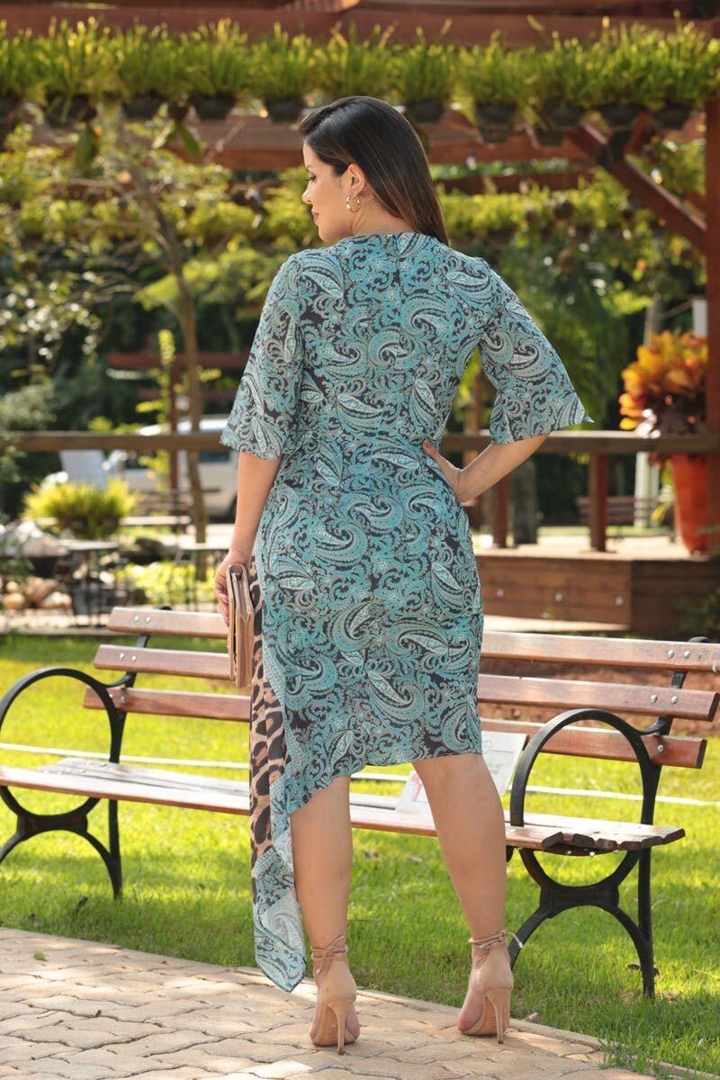 2515- Vestido em crepe estampa exclusiva de lenço c/ barra assimetrica