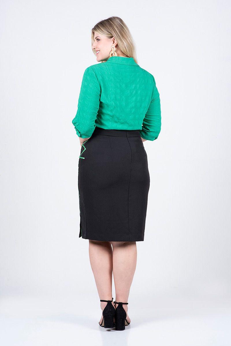 2528- Camisa plus size em crepe c/ elastano det. na manga  ( PRODUTO NA PROMOÇÃO NÃO TEM DESCONTO PAGAMENTO A VISTA)