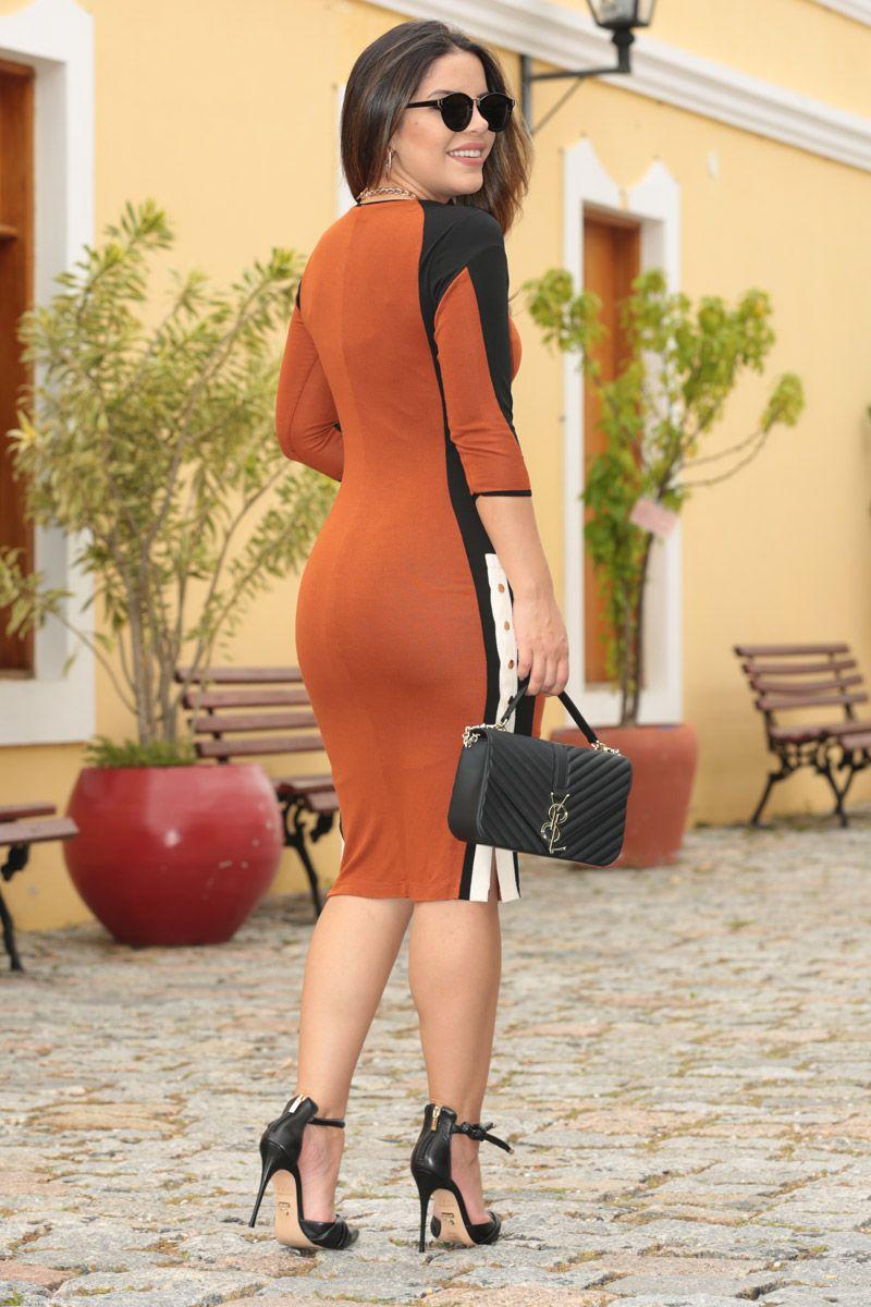 2545 - Vestido cashemirre soft bicolor c/ forro det. botões lateral