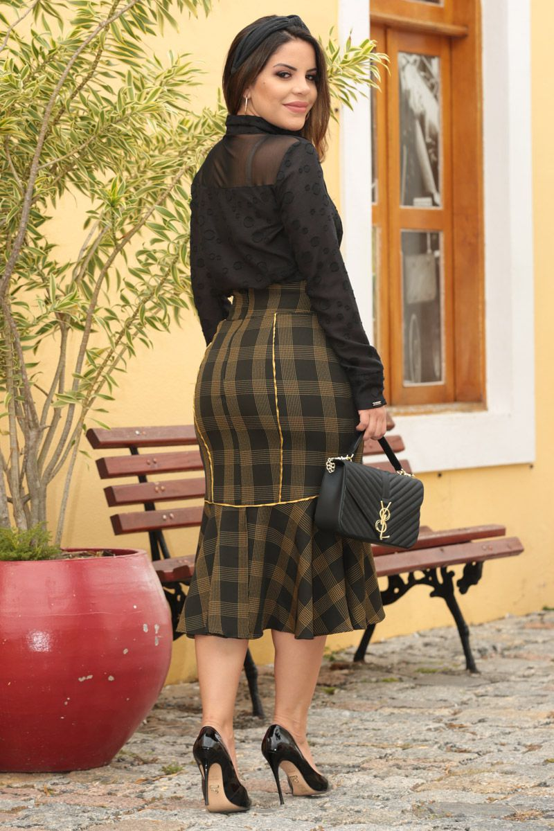 2555 - Saia em alfaiataria xadrez c/ forro det. vivos mostarda