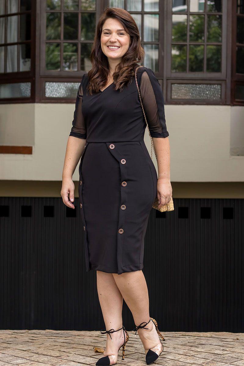 2559 - Vestido Plus Size em montaria c/ forro det. manga tule