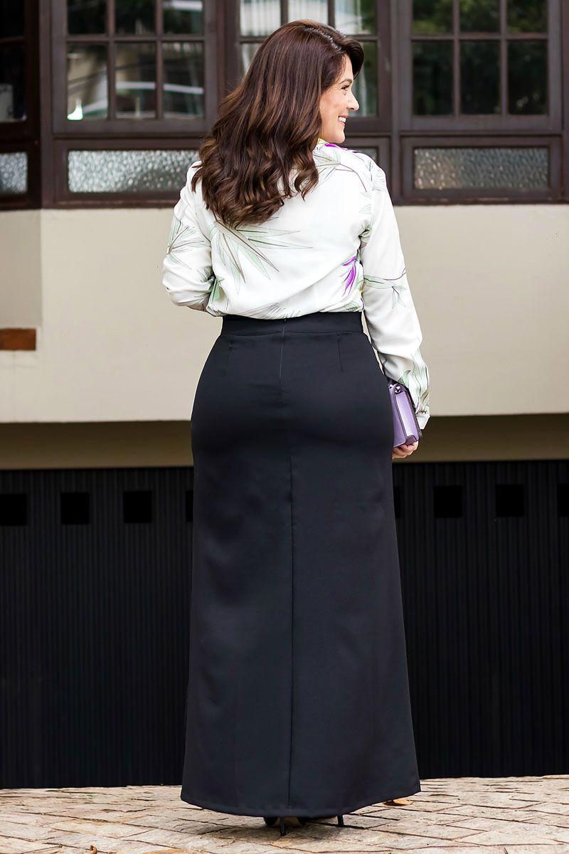 2561 - Saia longa Plus Size em crepe c/ forro
