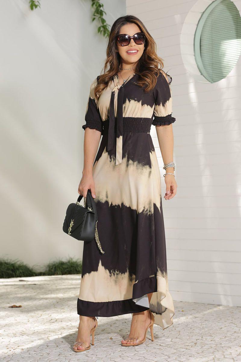 2607 - Vestido maxi em crepe com elastano em estampa Tay Day