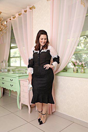 2615 - Camisa Plus Size em chiffon com renda e frente dupla