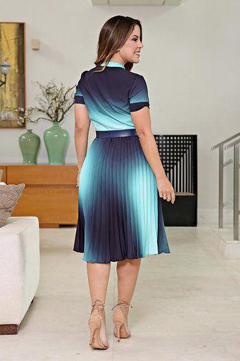 2633 - Vestido plissado forrado com cinto em estampa de Tie Dye