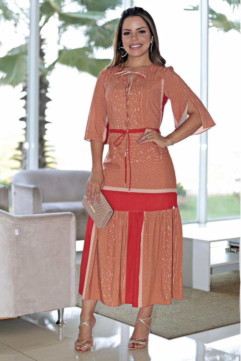 2666 - Vestido em crepe leve de seda estampada e color block