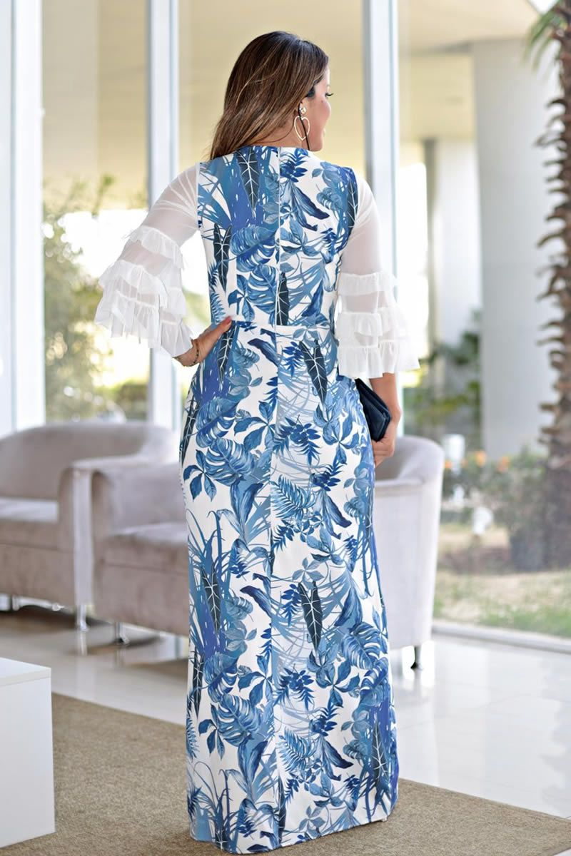 2675 - Vestido longo em crepe elastic com estampa floral exclusiva e manga babados de tule