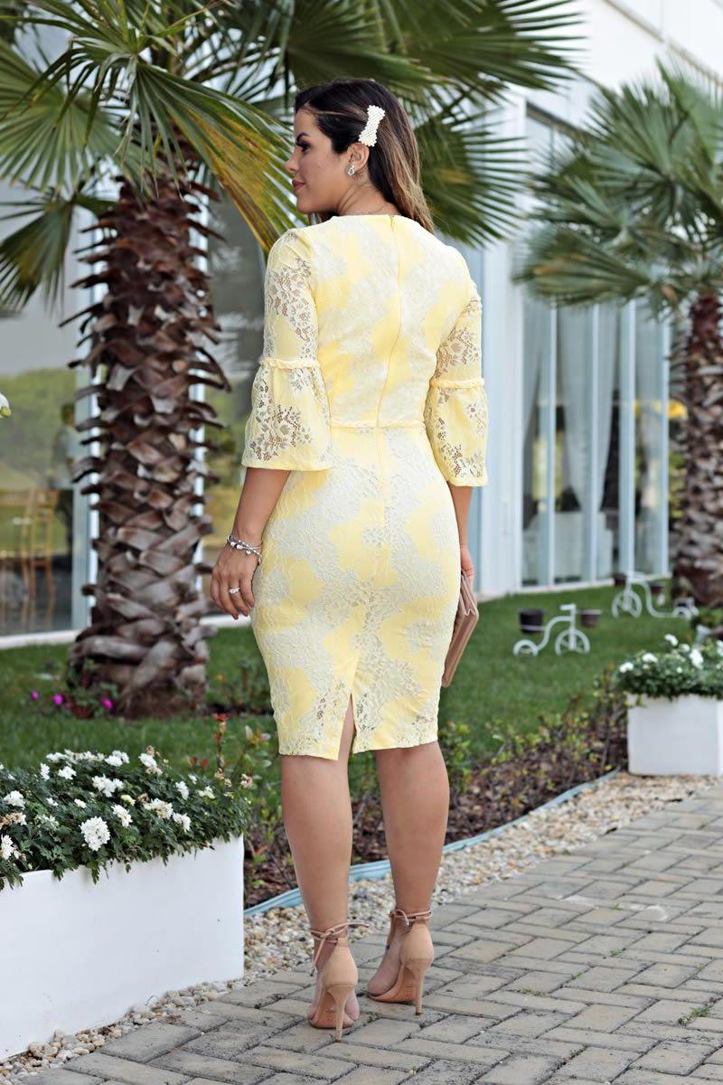 2678 - Vestido em renda com cinto de tranças bordado