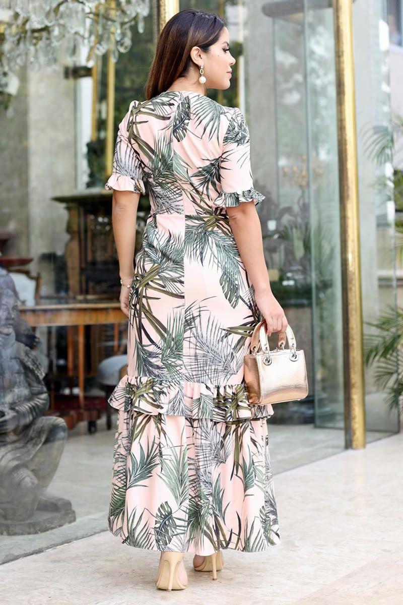 2687 - Vestido longo em crepe elastic com estampa exclusiva da Kauly (PRODUTO NA PROMOÇÃO NÃO TEM DESCONTO NO PAGAMENTO A VISTA)