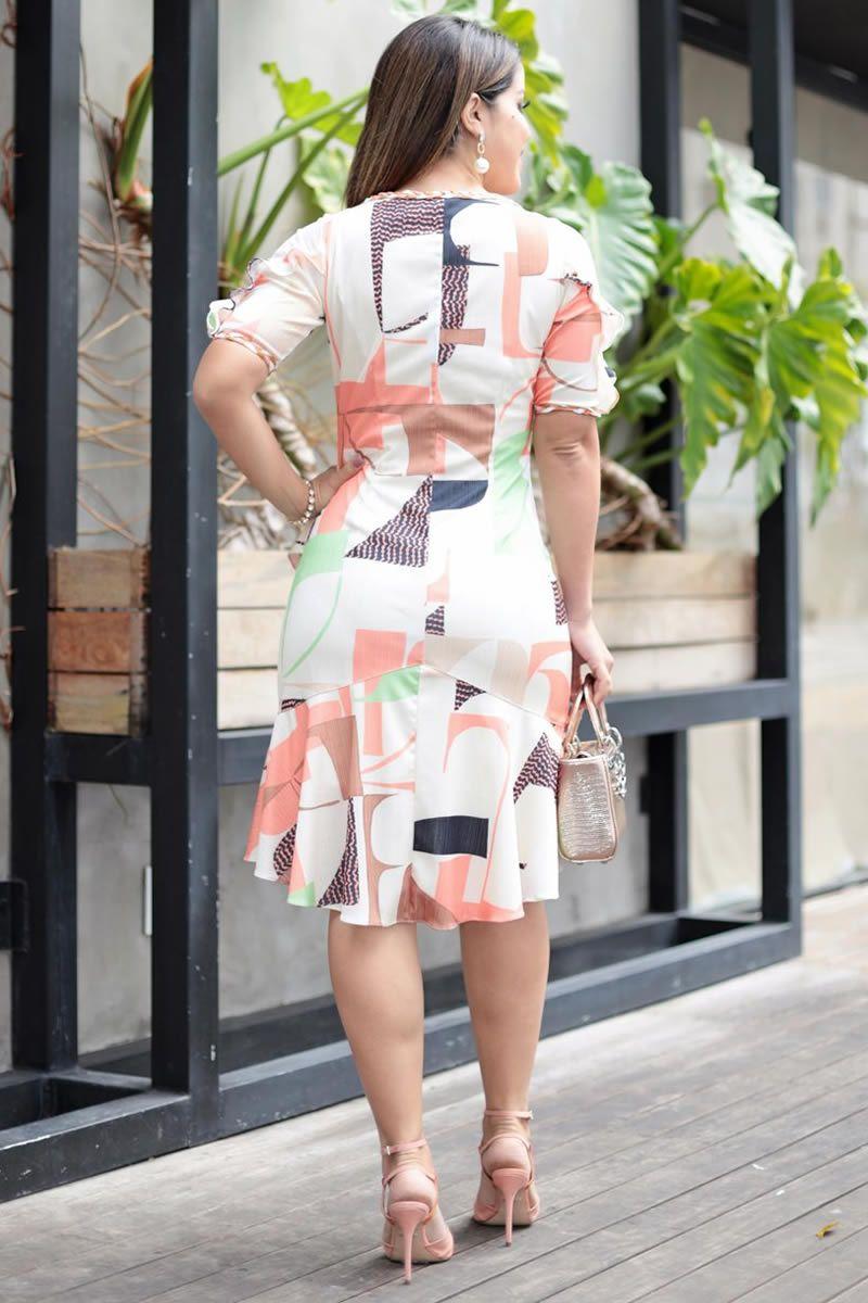 2701 - Vestido em malha canelada com detalhes de tule na manga e babados (PRODUTO NA PROMOÇÃO NÃO TEM DESCONTO NO PAGAMENTO A VISTA)