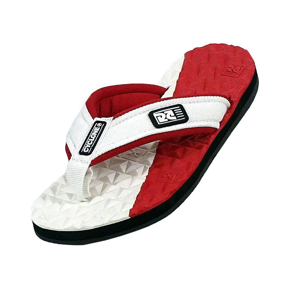 Sandália Cyclone Deck Diamond Bicolor Branco/Vermelho