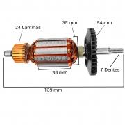 Induzido (rotor) para furadeira bosch 7081- Super hobby 139mm