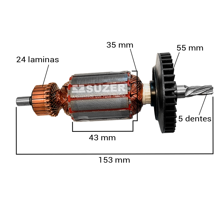 Induzido (Rotor) para furadeira bosch 1182- Gsb 20-2 153mm