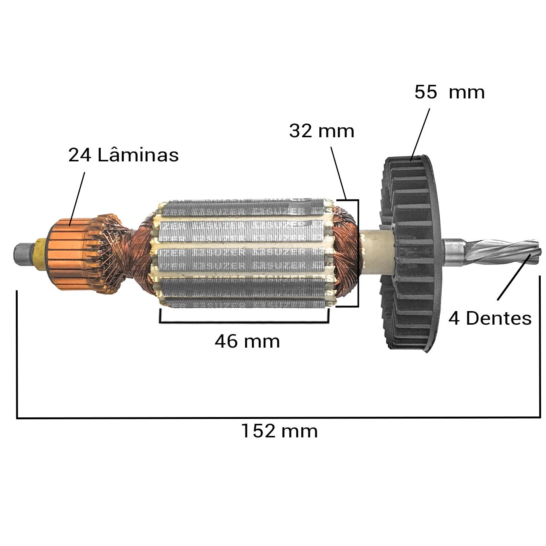 Induzido (rotor) para furadeira makita HP-1500 152mm