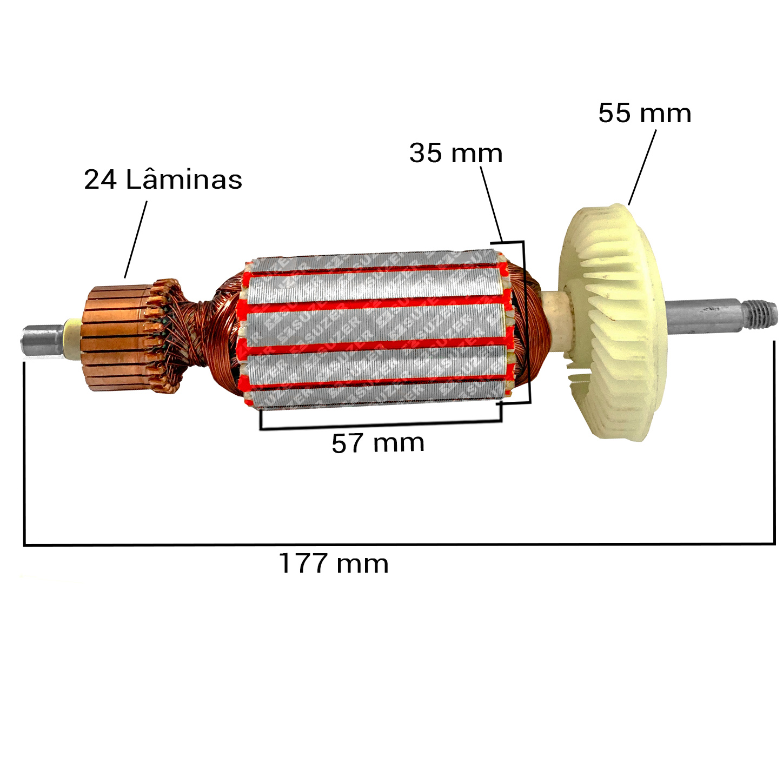 "Induzido (Rotor) para esmerilhadeira bosch 1801 Gws 9-125 4 1/2"" Dongcheng"