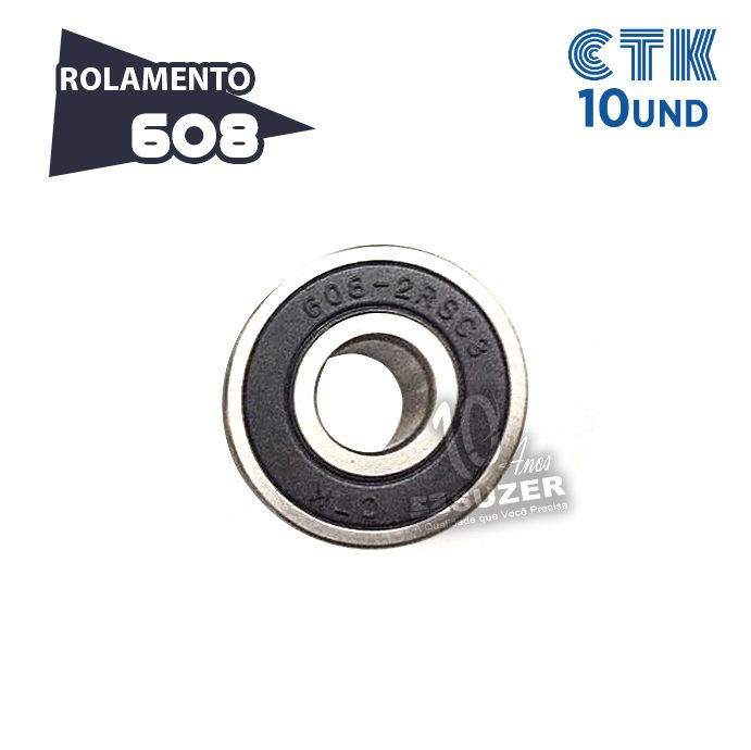 KIT 10 UNID - Rolamento 608 C3 - CTK