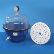 Dessecador à Vácuo em Polipropileno Resistente, com Placa de Polipropileno de 220mm, com Vacuômetro Indicador, Trava e Fecho, para Pressão Positiva de ate 600 mm/Hg ? Modelo: 0810