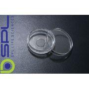 Placa (tipo Petri) Confocal,  Com lamínula no fundo e superfície Tratada, Pacote com 5 unidades - Modelo: 200350